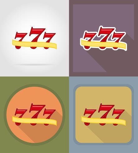 illustrazione piana di vettore di sette icone del casinò di posta