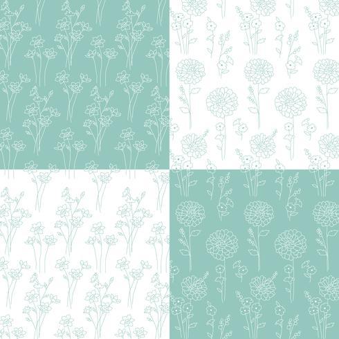 aqua blue green and white hand drawn botanical patterns