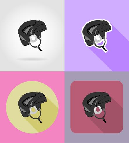 hockey helm plat pictogrammen vector illustratie