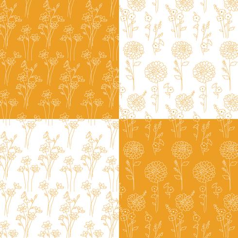 motivi botanici disegnati a mano arancione e bianco