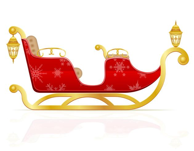 Trineo de Navidad rojo de santa claus ilustración vectorial