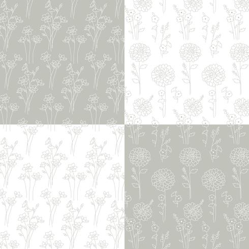 gray and white hand drawn botanical patterns vector