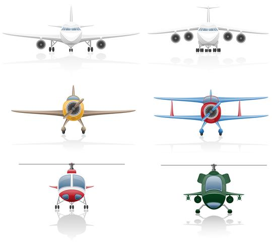 establecer iconos avión y helicóptero vector ilustración