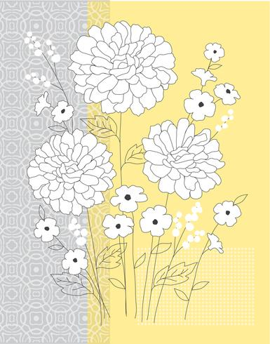 yellow grey floral vector graphic placement