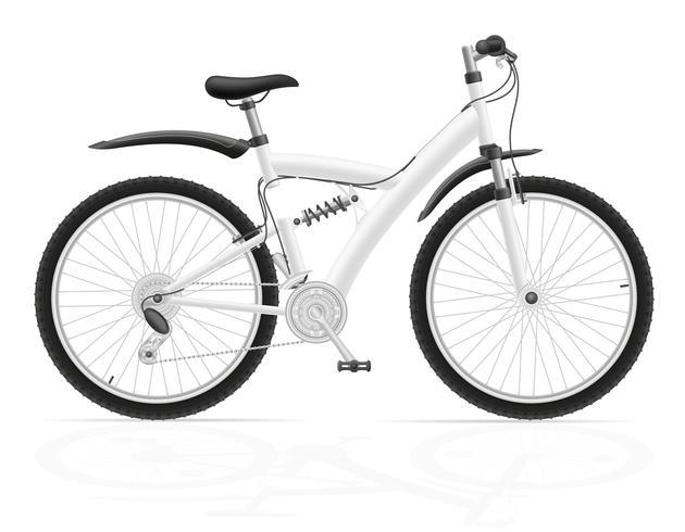Bicicleta deportiva con la ilustración de vector de amortiguador trasero