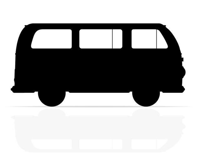ilustração em vetor silhueta retrô minivan