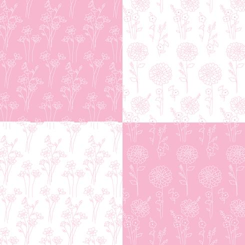 pink and white hand drawn botanical patterns vector