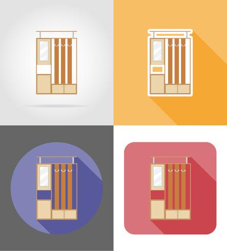 furniture hall set flat icons vector illustration