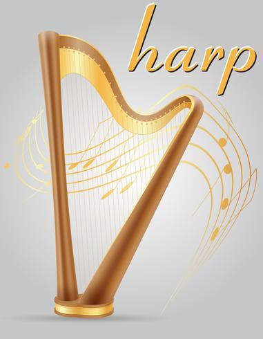 harp musical instruments stock vector illustration