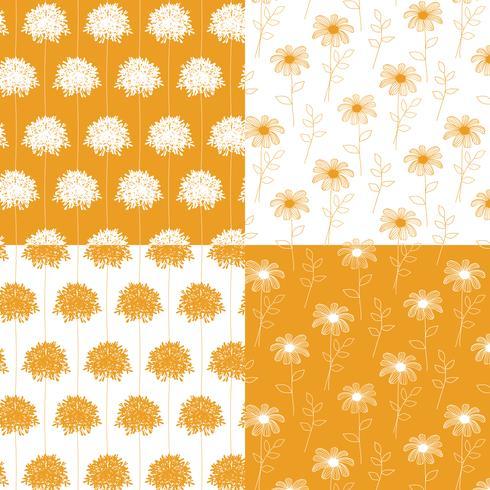 motifs floraux botaniques dessinés à la main blanc et orange vecteur
