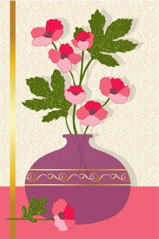 fiori rosa in posizione grafica vettoriale vaso
