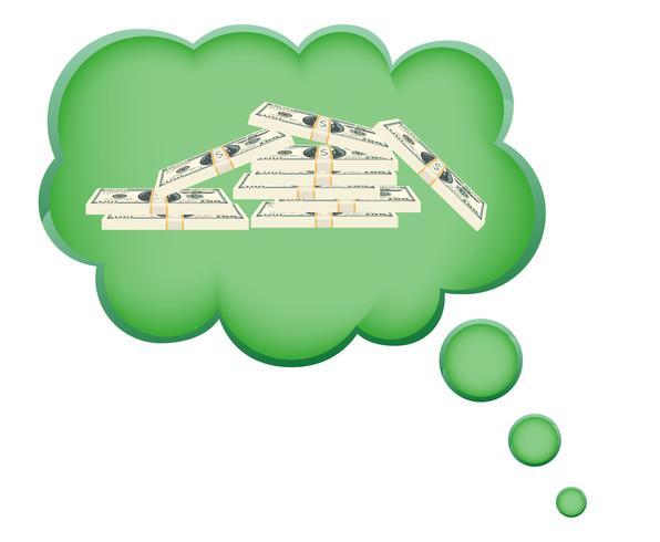 concepto de sueño un dinero en la ilustración de vector de nube