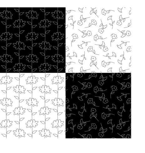zwart-witte botanische bloemenpatronen