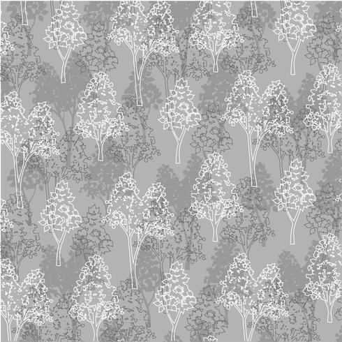padrão de árvores de contorno branco cinza