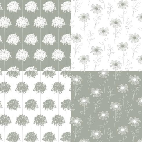 white and gray hand drawn botanical floral patterns