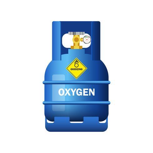 bouteille de gaz bleu contenant de l'oxygène isolé sur fond blanc vecteur