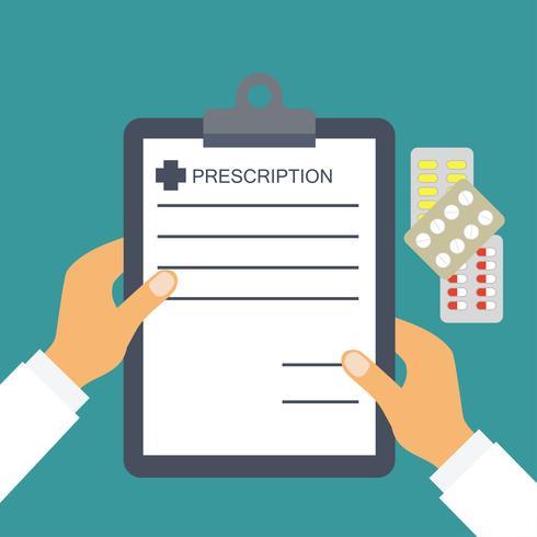prescrição do médico para conceitos médicos e de saúde