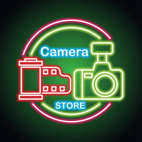 Kameraausrüstung mit Neonzeicheneffekt für den Kamerageschäft