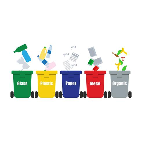 colored trash cans blue red with metal, paper, plastic, glass and organic waste suitable for reuse reduce recycle. waste sorting garbage