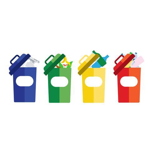 gekleurde vuilnisbakken blauwrood met metaal, papier, plastic, glas en organisch afval dat geschikt is voor hergebruik, vermindert de recyclage. afval sorteren afval