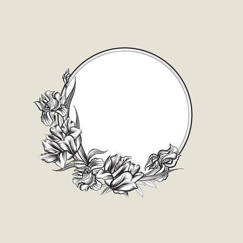 Fondo floral del marco. Tapa del ramo de flores. Tarjeta de felicitación