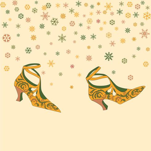 Fashion female shoes background. Retro wallpaper with vintage fashionable boots walking over snowy weather