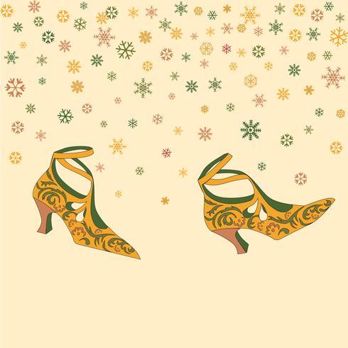 Fundo de sapatos femininos de moda. Papel de parede retrô com botas vintage elegantes andando sobre o tempo nevado
