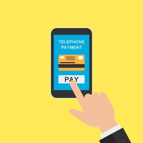 transacción de dinero en la aplicación de banca móvil, mano móvil para el concepto de negocio en línea vector