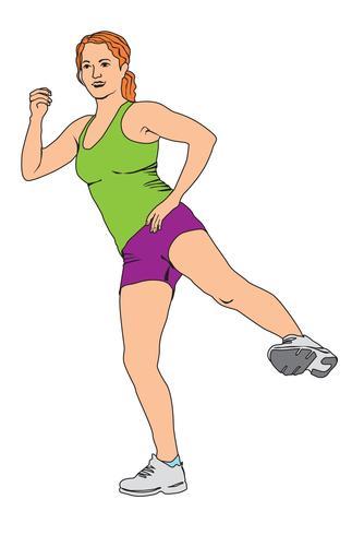 Elegant kvinna silhuett gör fitness motion. Fitness club girl vektor