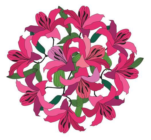Flower bouquet. Floral frame. Flourish greeting card. Summer decor vector