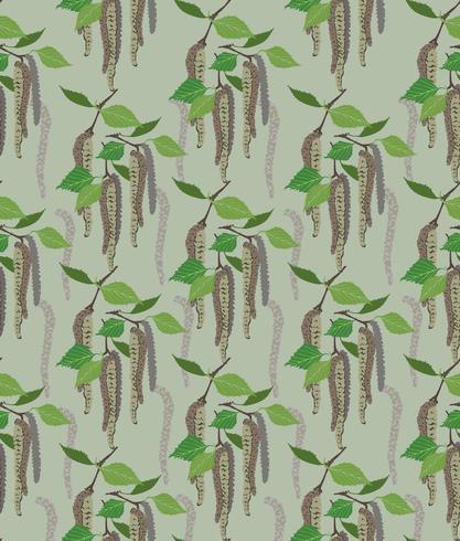 folhas padrão sem emenda. Fundo floral da folha do vidoeiro da mola.