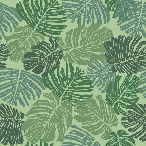 Tropcal leaves seamless pattern. Beautiful floral leaf background.