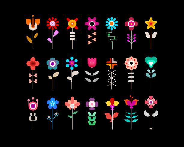 Set di icone vettoriali fiore colorato