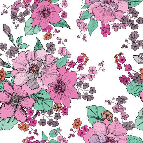 Fondo floral sin fisuras Patrón de flores. vector