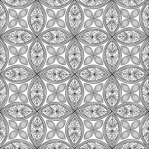 Floral seamless pattern. Linear ornament. Abstract background