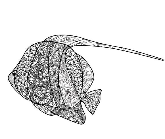 Fisk isolerad med prydnadsmönster. Doodle marint liv illustration