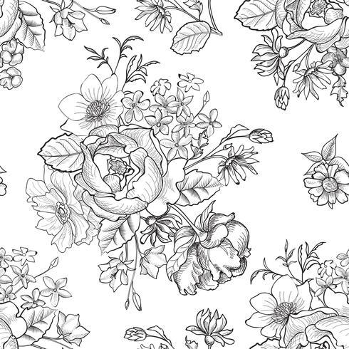 Floral engraved seamless pattern. Flower garden background vector