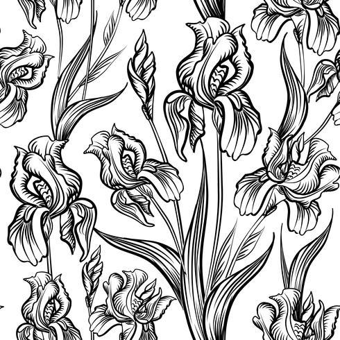 Motif floral gravé sans soudure. Fond de jardin de fleurs vecteur