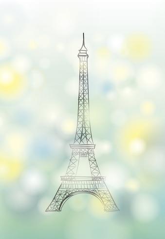Paris Frühlingshintergrund. Eiffelturm. Reise-Frankreich-Plakat. vektor