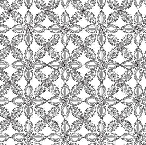 Padrão sem emenda floral. Ornamento linear. Fundo abstrato