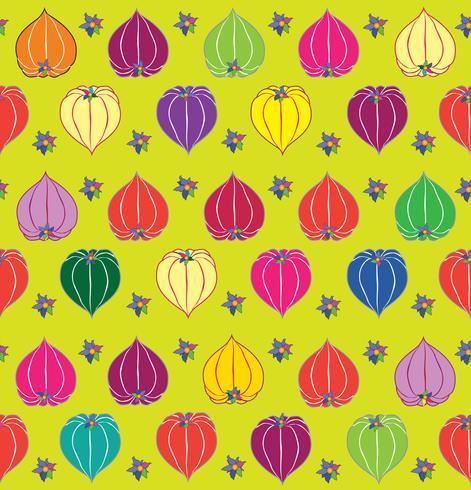 Floral fall seamless pattern Physalis background. Flourish garden texture vector