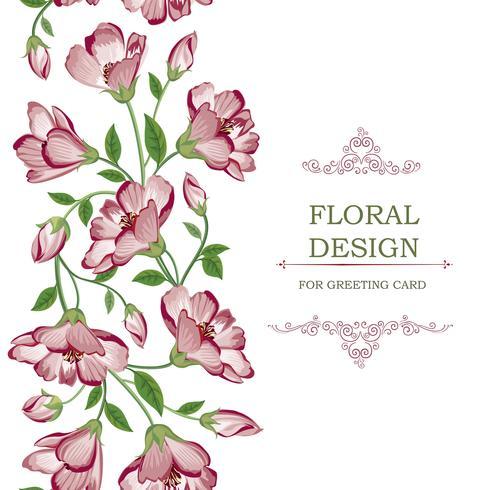 Floral naadloze grens garland patroon. Bloem achtergrond.