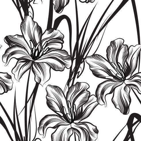 Floral engraved seamless pattern. Flower garden background