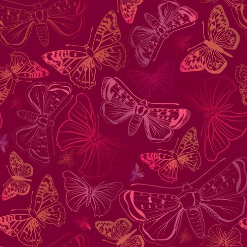 Mariposa de patrones sin fisuras. Fondo floral de la fauna de las vacaciones de verano.