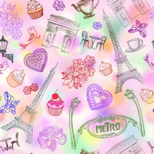 Paris city landmark seamless pattern. Travel France background.