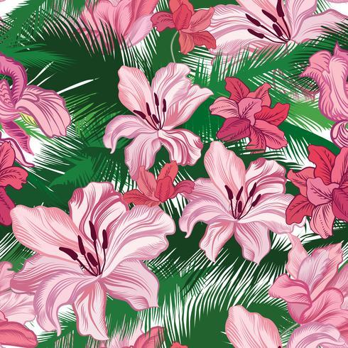 Nahtlose Blümchenmuster Tropische Blumen. Dschungelarthintergrund