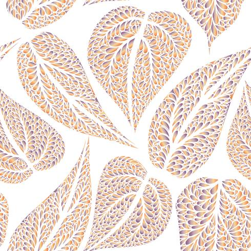 Motif floral avec feuilles Fond transparent de Nature. Décor d'automne