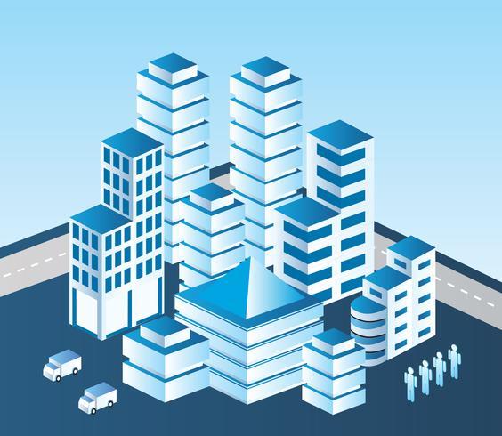 edificio blu vettore