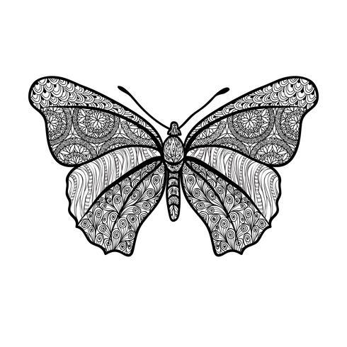 Mariposa aislado Elemento floral de vacaciones de verano, patrón oriental.