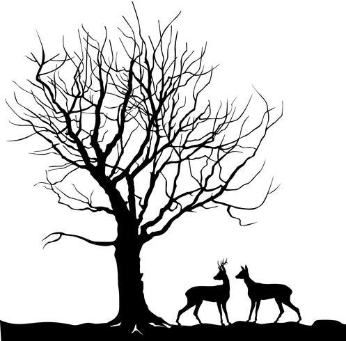 Ciervos animales sobre el paisaje del bosque del árbol. Silueta de la naturaleza salvaje vector